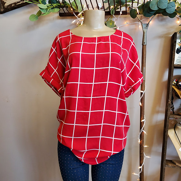 Zenana Red Striped Cuffed Sleeve Tee