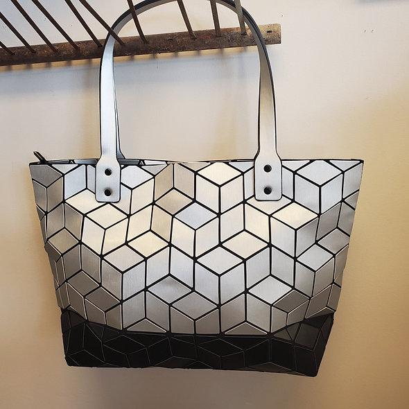 Patrizia Luca Black and Silver Geometric Colorblock Tote