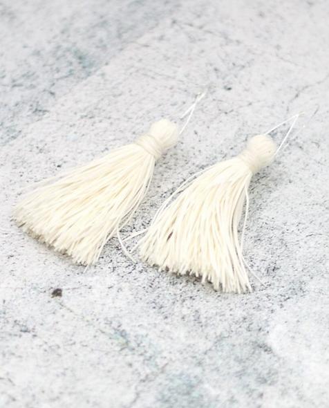 White Tassel Statement Earrings
