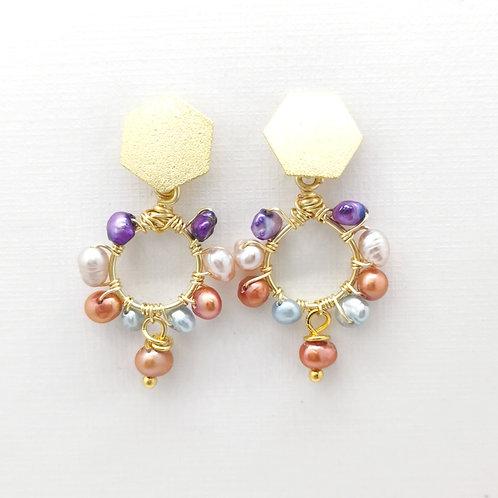 Aros Circulo Perlas Multicolor