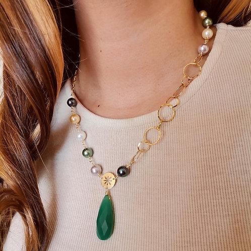Collar Gota Calcedonia Verde Esmeralda
