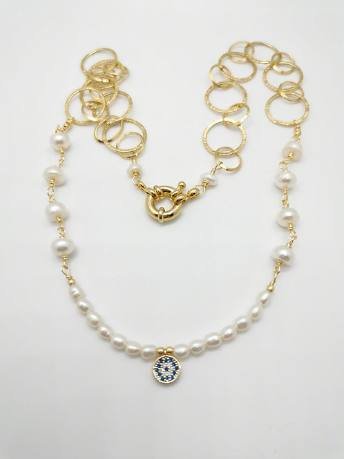 Collar Perla y Dije Circón Azul