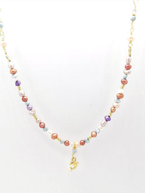 Collar Mix Perlas Colores -Delfín