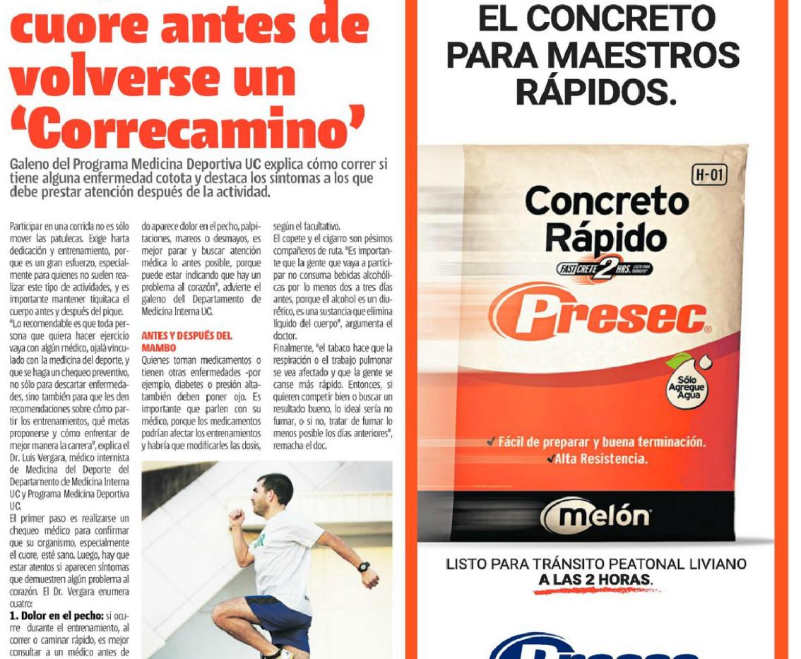 Importancia del chequeo preparticipativo deportivo (Diario La Cuarta)