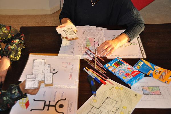 ateliers d'analyse d'un lieu avec plan, définir les pièces d'une maison et leurs usages et agencements de manière équlibrée