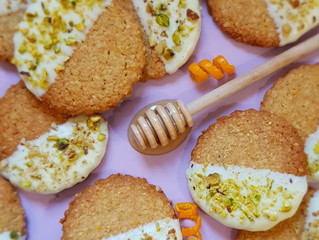 White Chocolate Dipped Honey Orange Oatmeal Biscuits