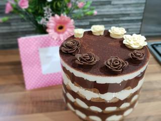 Tiramisu and chocolate pudding trifle with Chocolate Roses