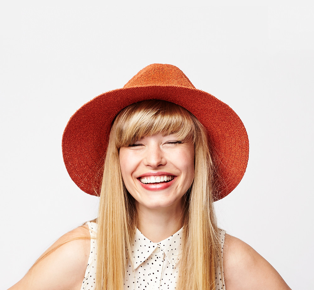 happy woman with bangs fringe