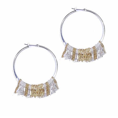 Fringed hoop earring