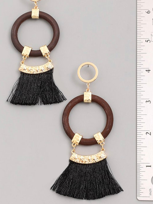 Brown and Black Fringe Earring