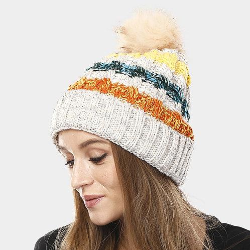 Multi Color Pom Pom Hat