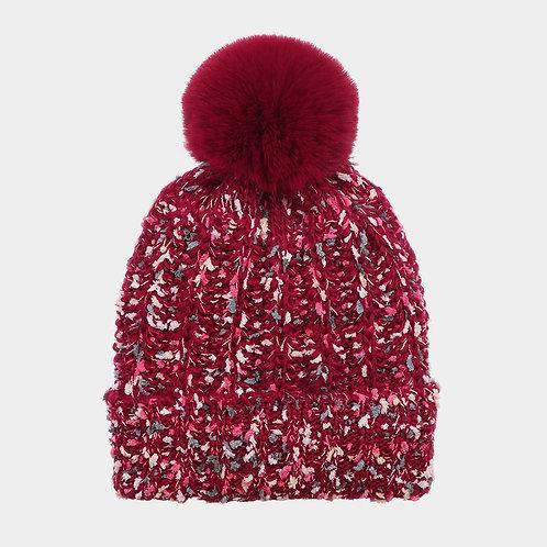 Burgundy Pom Pom Hat