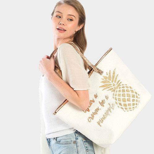 Crown Pineapple Beach Bag