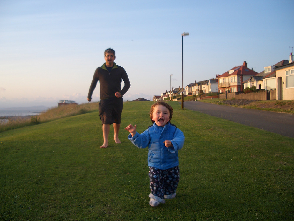 Brain injury survivor Jason Le Masurier and son learning to walk