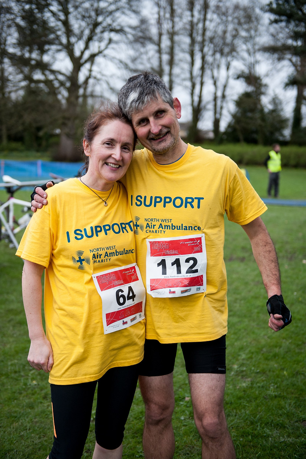 Brain injury survivor Jason and wife Liz after a charity run
