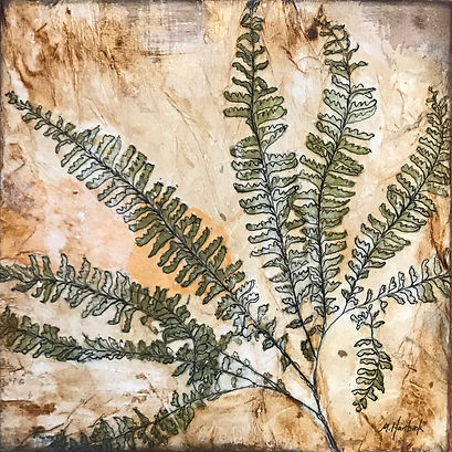 """Maiden Hair Fern II  10""""x10"""" Watercolor, Sumi ink, acrylic medium, Unryu papers, maple panel board, Maiden Hair fern collected at Latourell Falls in the Columbia River Gorge"""