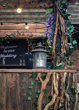 Detail of Rustic Mobile bar showing vines
