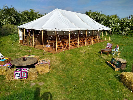 Overall view of our rustic Marquee with our other stock available to hire