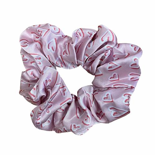 Pink hearts Hair Scrunchie