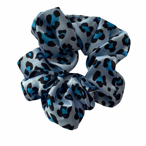 Blue Leopard Hair Scrunchie