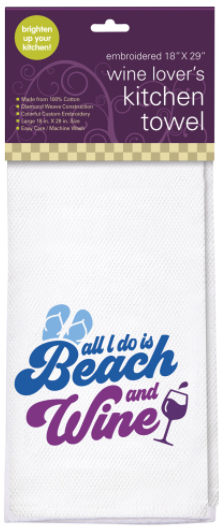 Embroidered Kitchen Towel, Beach & Wine