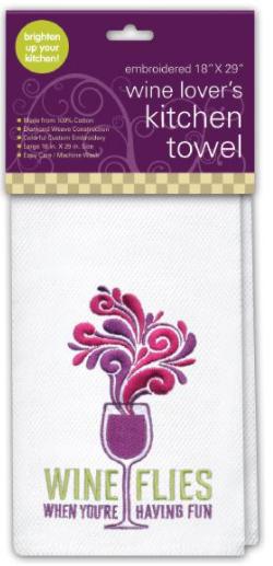 Embroidered Kitchen Towel, Wine Flies