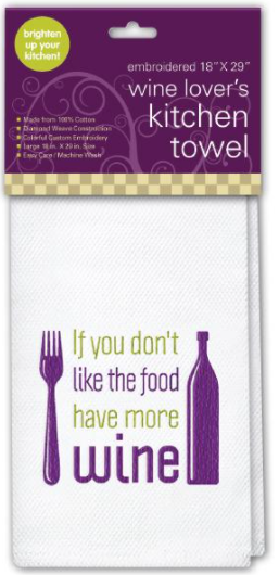 Embroidered Kitchen Towel, If you don't like the food
