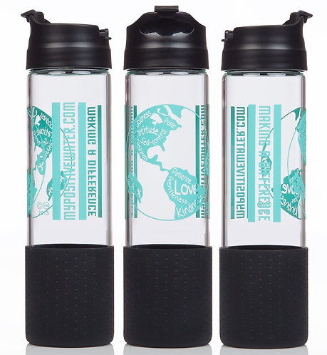 Glass My Positive Water bottle Teal and Black