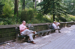 Two man on benches