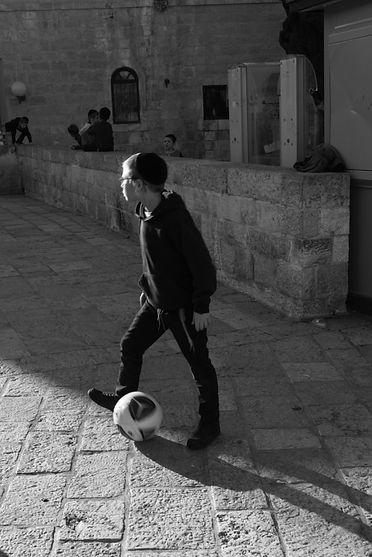Jewish boy playing ball