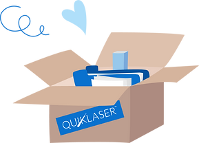 Box of Quiklaser marketing collaterals