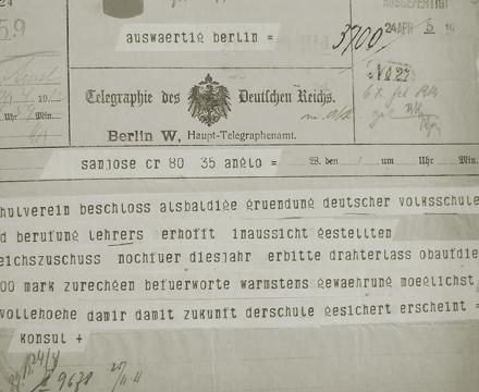 Abb. 4: Telegramm an das Auswärtige Amt des Deutschen Reiches in Berlin vom 24.4.1912
