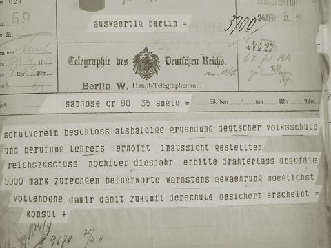 Fig. 4: Telegrama a las oficinas exteriores del gobierno alemán en Berlin del 24.4.1912