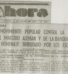 """Abb. 1: Zeitungsartikel in """"La Hora"""" vom 10.5.1940"""