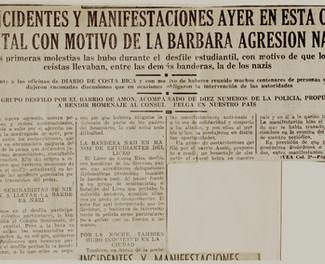 "Abb. 10a: Zeitungsartikel aus ,,El Diario de Costa Rica"" vom 11.5.1940"