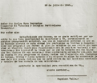 Abb. 6: Abschlussbericht von Schulinspektor Barrantes vom 20.7.1940