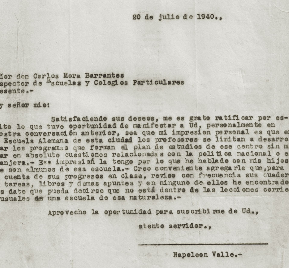Fig. 6: Informe final del inspector escolar Barrantes del 20.7.1940