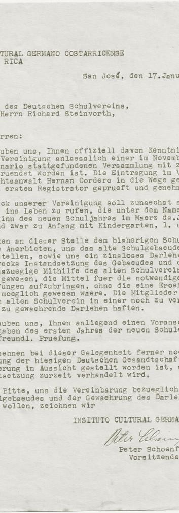 Fig. 2: Carta del presidente Peter Schönfeld a la Junta Directiva de la Asociación Escolar Alemana del 17.1.1956