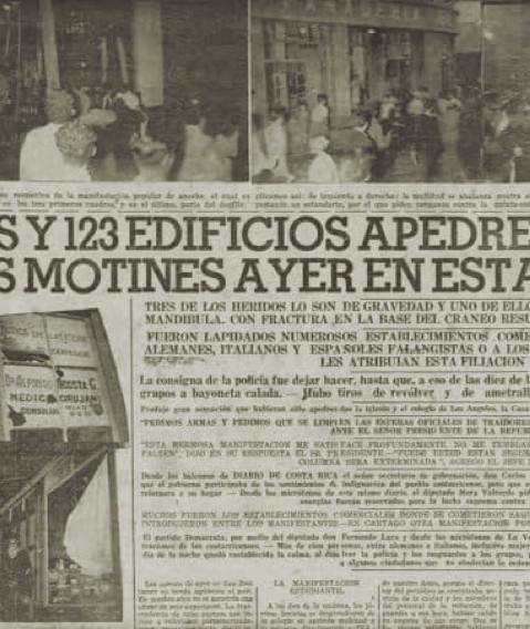 """Fig. 11: Artículo en el periódico Diario de Costa Rica"""" del 5.7.1942 sobre las protestas del 4 de julio de 1942"""