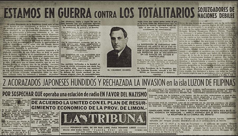 """Fig. 3: Artículo del periódico """"La Tribuna"""" del 12.12.1941 sobre la declaración de guerra"""