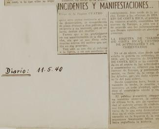 "Abb. 10b: Zeitungsartikel aus ,,El Diario de Costa Rica"" vom 11.5.1940"
