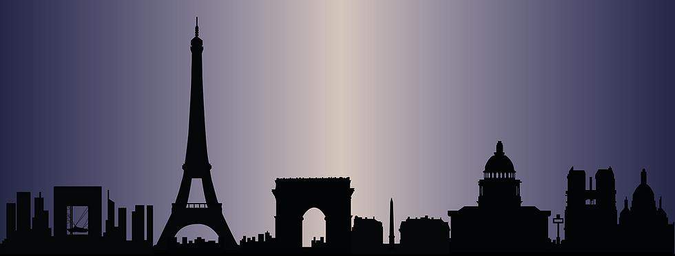 Ville panoramique silhouette fond bleu m