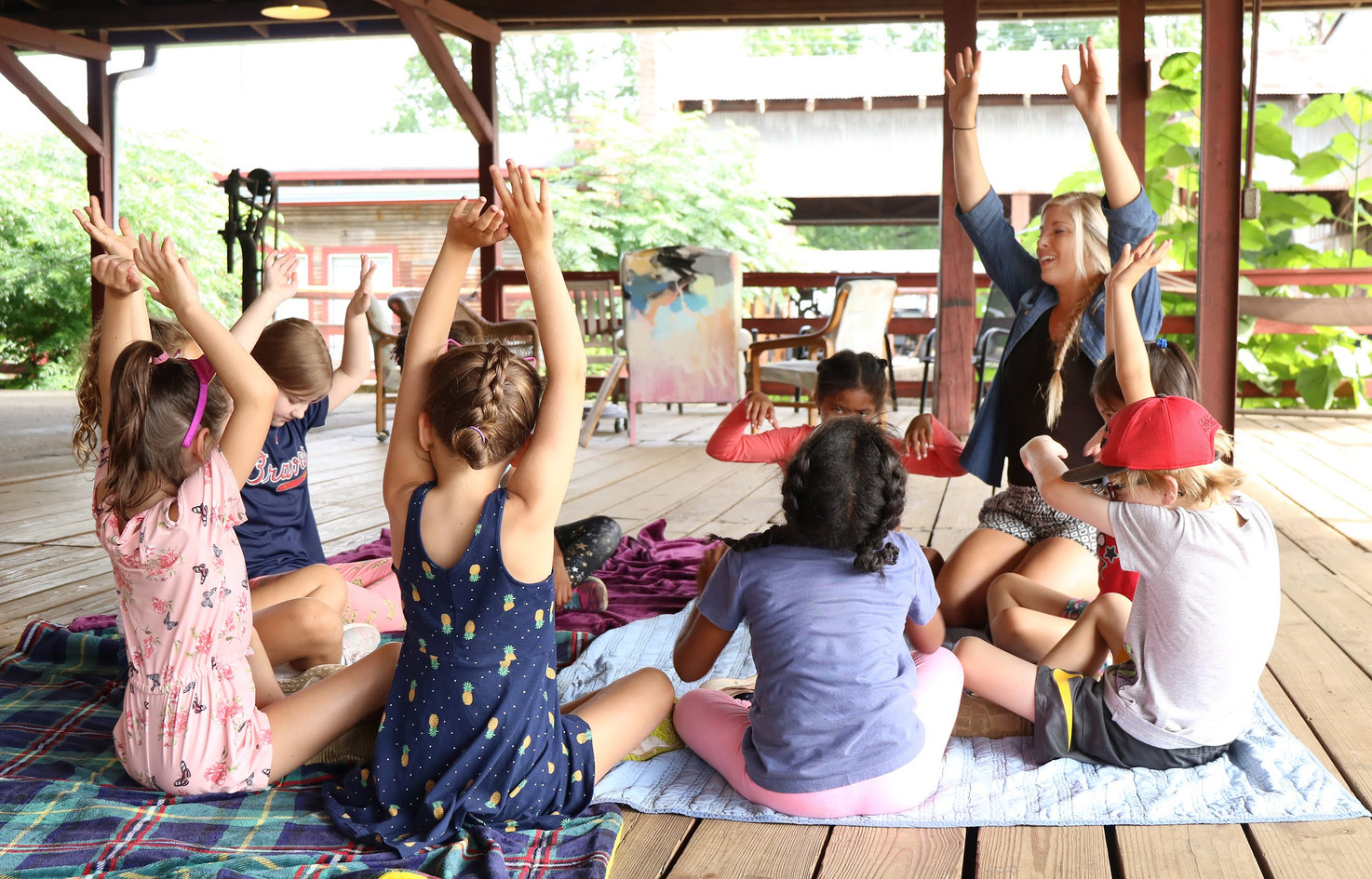 Morning yoga and activity at drawchange Art Camp