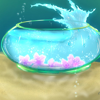 Fishbowl under sea