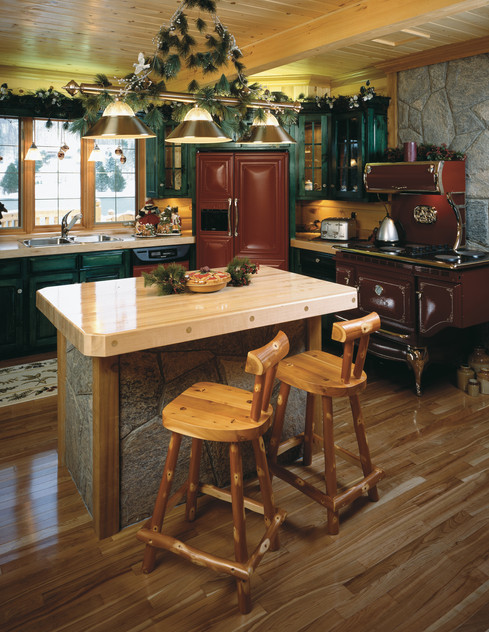 Log cabin kitchen with island