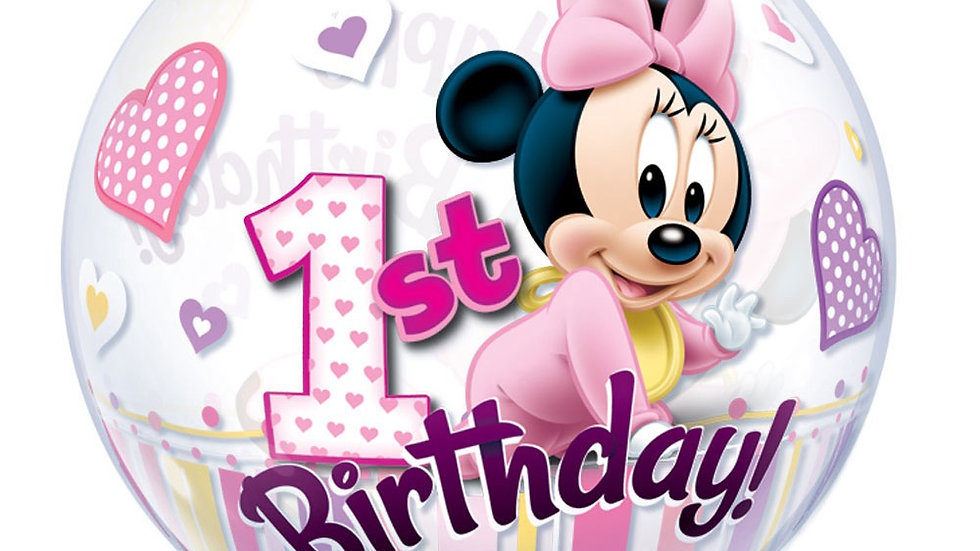 Mickey/MInnie mouse 1st Birthday Bubble Balloon