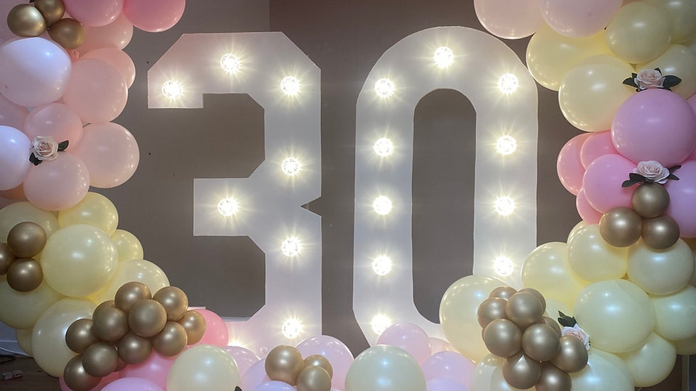 Light up numbers and balloon garland/hoop