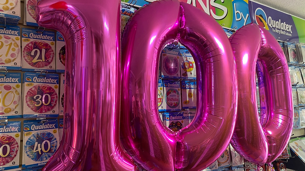 Large helium filled foil numbers