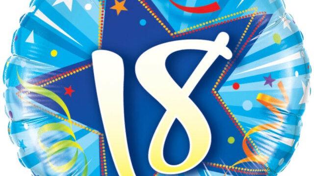 "18"" foil age 18 balloon"
