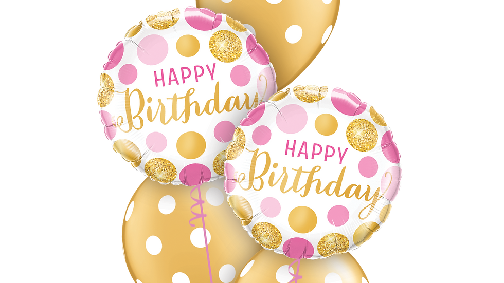 Birthday pink and Gold dots classic